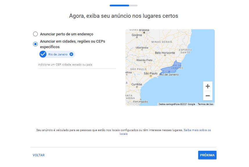 Mapa de google Maps para marketing de escritórios de contabilidade